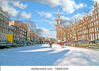 Amsterdam in winter with the Westerkerk in the Netherlands