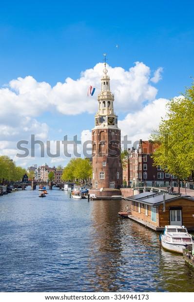 Montel Cloud Hoekbank.Amsterdamapril 27 Amsterdam Montelbaanstoren Tower