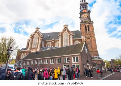 AMSTERDAM-APRIL 30: Ticket-queue to the Anne Frank House Museum on April 30,2015.The Anne Frank House Museum is one of Amsterdam's most popular and important museums.