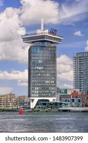 AMSTERDAM-AUG. 8, 2019. Famous Amsterdam Tower, former Shell Headquarters has been transformed into exciting tourist spot. It has an observation deck with an unrivalled panoramic view of Amsterdam.