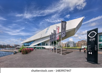 AMSTERDAM-AUG. 8, 2019. The iconic Eye Film Museum, archive and museum designed by Delugan Meissl architects, specialized in buildings that appear to be in motion like the Porsche Museum Stuttgart.