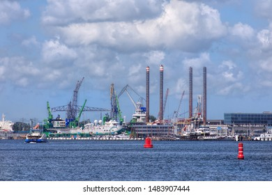 AMSTERDAM-AUG. 8, 2019. Port of Amsterdam with cargo throughput of 97.4 million tons second largest port in the Netherlands, located on the bank of former bay named the IJ and the North Sea Canal.