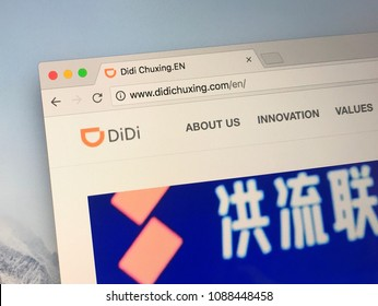Amsterdamn, Netherlands - May 11, 2018: Official website of didichuxing.com. Didi Chuxing is a Chinese ride-sharing and taxi conglomerate.