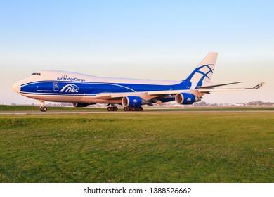 Amsterdam/Netherland Mai 01, 2019: Boeing 747 from Airbridge at Amsterdam Airport