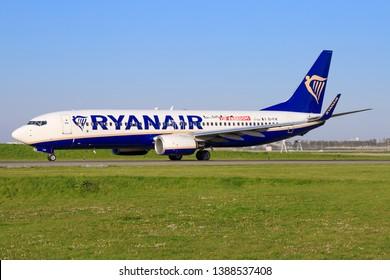 Amsterdam/Netherland Mai 01, 2019: Boeing 737 from Rynair at Amsterdam Airport