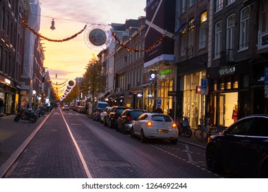 8a661f35681 Amsterdam/Netherlands - 11/12/2018: Sunset on the the P.C. Hooftstraat