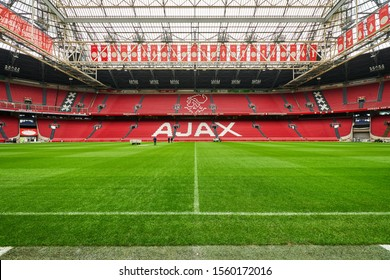 AMSTERDAM/NETHERLANDS - April 25, 2018:The field of Johan Cruyff Arena in Amsterdam