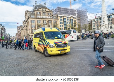 AMSTERDAM/NETHERLANDS - APRIL 31, 2017 : Ambulance and police getting ready for the emergancy situation