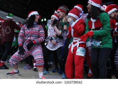 AMSTERDAM,NETHERLANDS - DECEMBER 15: People take part during Ugly Christmas Sweater run at the Vondelpark on December 15, 2018 in Amsterdam,Netherlands.