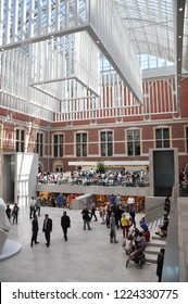 Amsterdam/Netherlands (Holland) - AUGUST 29,2013: Visitors in the modern main hall (the new atrium) of the Rijksmuseum.