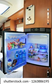 AMSTERDAM,NETHERLANDS-APRIL 28,2017: Refrigerator with all kinds of food in a luxury camper