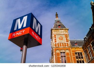 Amsterdam/Netherland-September, 2018: Central station in Amsterdam, Netherland.