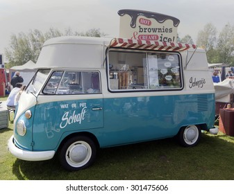 Amsterdam,netherlands-july 27, 2015: volkswagen t1 ice cream truck at the rolling kitchen festival