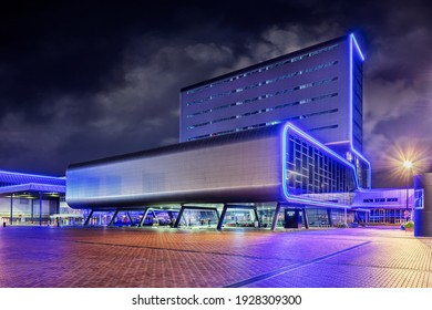 AMSTERDAM-NOVEMBER 4, 2020. The RAI convention Center at nighttime. It is a complex of conference and exhibition halls opened in 1961, currently it welcomes annually up to two million visitors.