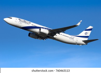 AMSTERDAM-SCHIPHOL - FEB 16, 2016: El Al Israel Airlines Boeing 737 airliner taking off from Schiphol airport.