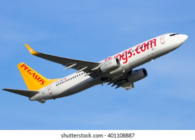 AMSTERDAM-SCHIPHOL - FEB 16, 2016: Pegasus Airlines Boeing 737-800 take-off from Amsterdam Schiphol airport in The Netherlands