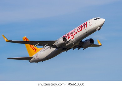 AMSTERDAM-SCHIPHOL - FEB 16, 2016: Pegasus Airlines Boeing 737 airplane take-off from Amsterdam Schiphol airport in The Netherlands