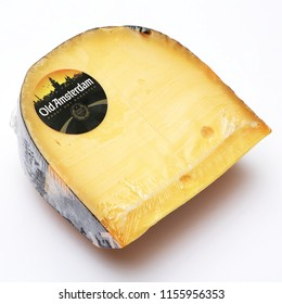 AMSTERDAM-SEPTEMBER 21: Traditional Dutch cheese OLD AMSTERDAM on September 21,2015, the Netherlands.The Netherlands produces a variety of the hard or semi-hard tempting cheeses.