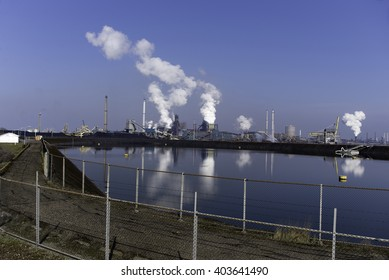AMSTERDAM,Wijk an zee, THE NETHERLANDS, 03 April 2016 - Iimage of the site of Tata Steel  in The Netherlands