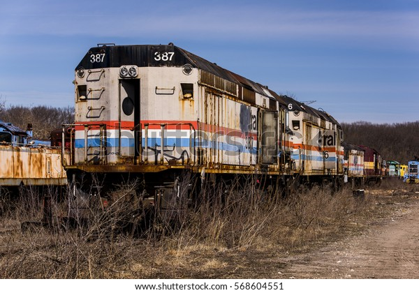 Amtrak Locomotives Sit Abandoned Railroad Yard Stock Photo