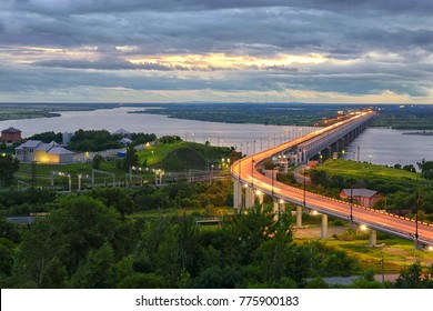 Amur bridge, Trans siberian railway. Khabarovsk, far East, Russia.