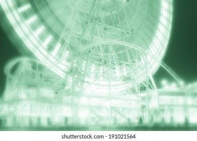 Amusement park at night?Ferris wheel?