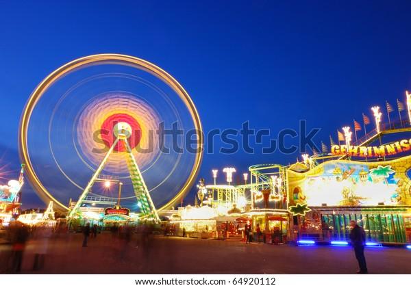 Amusement Park, Ferris Wheel, colorful composition, blue sky at dawn, Fruhlingsfest, Oktoberfest