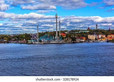 Amusement park of Grona Lund on Djurgarden Island - most popular city-center amusement park in Sweden, it has over 30 attractions. Stockholm, Sweden.