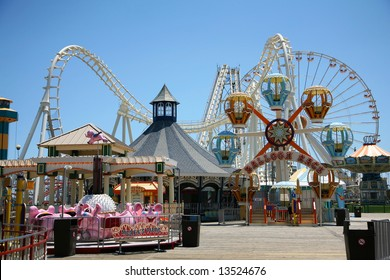 amusement park rides with blue background