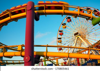 Amusement park rides on a pier, Santa Monica Pier, Santa Monica, Los Angeles County, California, USA