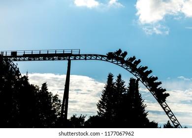 Amusement park. Roller coaster ride