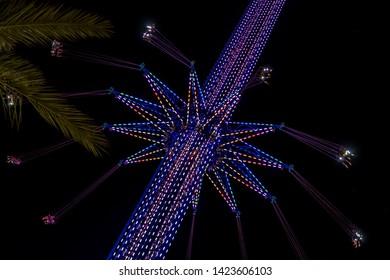 Amusement park and spin rides long exposure shoot Orlando Florida
