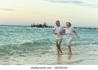 Amusing elderly couple went to the beach to have a walk by sea