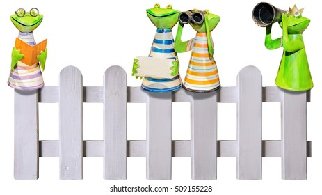 Amusing frogs metal figures on fence exempt