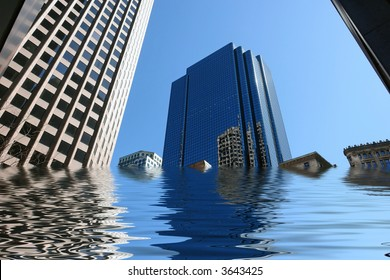 amusing image of boston skyscrapers being flooded
