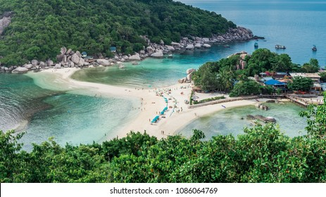 Amzing View of island and beach. Travel Vacation Lifestyle summer Concept.Tropical paradise on the island of Koh nang yuan in Thailand