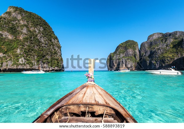 Amzing view from over longtail boat Travel vacation background - Beautiful sea tropical island and sky of Maya bay - Phi-Phi island, Krabi Province, Thailand.