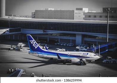 ANA airplane in Chubu Centrair International Airport, Nagoya, Japan, 16 November 2018