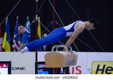 ANADIA, PORTUGAL - JUNE 21: Alisher Mamadyarov (KAZ) during the Art Gymnastics FIG World Cup Challenge on june 21, 2013 in Anadia, Portugal.