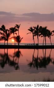 Anaehoomalu Bay at sunset Big Island, Hawaii,