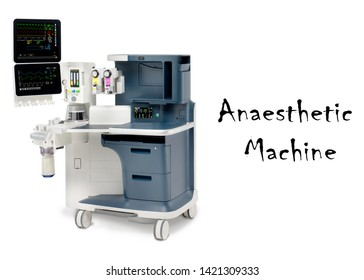 Anaesthesia Machine Isolated on White. Anaesthetic Workstation with the Ventilation Breathing. Anesthesia Delivery System with Gas Scavenging Systems. Medical Equipment. Patient Monitoring System
