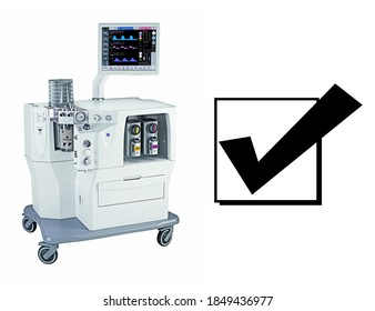 Anaesthetic Machine Isolated on White. Anaesthesia Workstation with the Ventilation Breathing. Anesthesia Delivery System with Gas Scavenging Systems. Medical Equipment. Patient Monitoring System