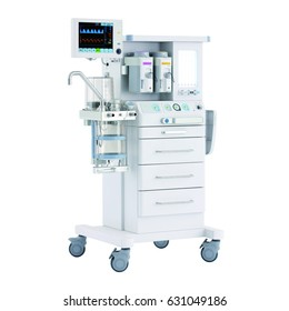 Anaesthetic Machine and Patient Monitoring System Isolated on White. Anaesthesia Workstation with the Ventilation Breathing and Gas Scavenging Systems. Anesthesia Delivery System. Medical Equipment