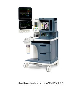 Anaesthetic Machine and Vital Signs Monitors or Patient Monitoring System Isolated on White Background. Anesthesia Delivery System. Medical Equipment