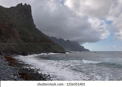 Anaga Mountain Cliffs, Ocean High Waves - Coastal Landscape.