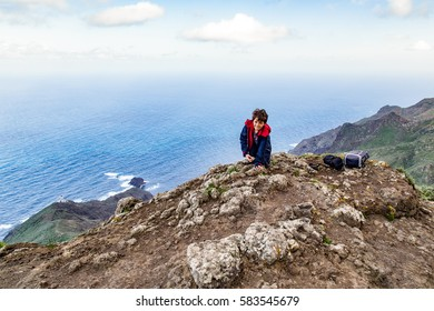 The Anaga Mountains nature park - walking through clouds and sun shine in the greenest part of Tenerife, Canary Islands, Rocks, plants, sea and the rain forest from Los Roques de Anaga.