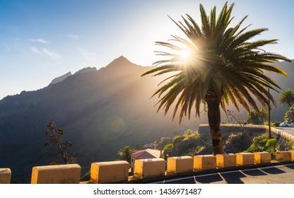 Anaga Mountains Taganana at sunset, Europe, Spain, Canary Islands Tenerife