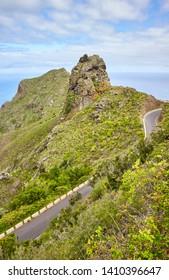 Anaga Rural Park scenic mountain landscape with Atlantic Ocean in distance, Tenerife, Spain.