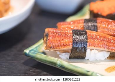 Anago (Grill Eel) or Unagi sushi - Japanese traditional food Anago (Grill Eel) or Unagi sushi concept