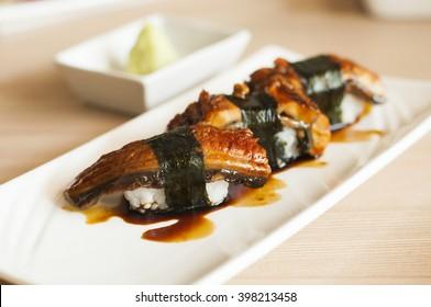 Anago or Unagi sushi with japanese sauce